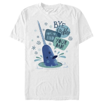 Men's Elf Narwhal I Hope You find Your Dad Text Poster T-Shirt