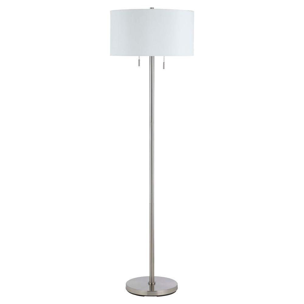 Image of Cal Lighting Calais Brushed Steel finish Metal Floor Lamp with 2 bulb sockets