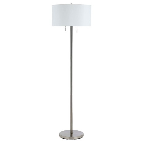 Cal Lighting Calais Brushed Steel Finish Metal Floor Lamp With 2 Bulb Sockets