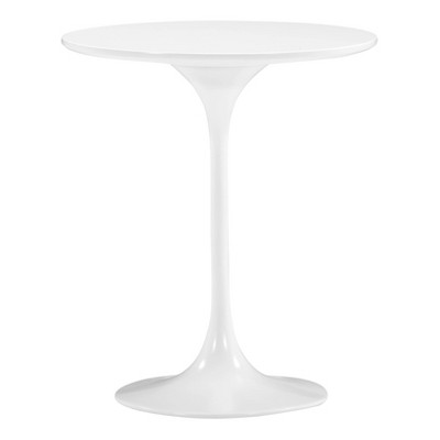 "Mid-Century 23"" Round Bevel Edge and Tulip Base End Table - White - ZM Home"