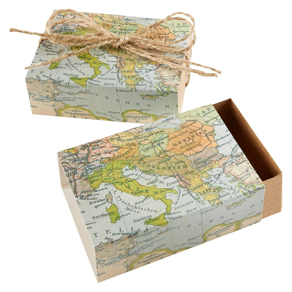 """Image of """"24ct """"""""Around the World"""""""" Map Favor Box"""""""