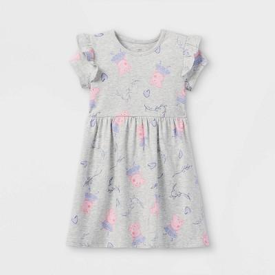 Toddler Girls' Peppa Pig Short Sleeve Jersey Knit Dress - Gray