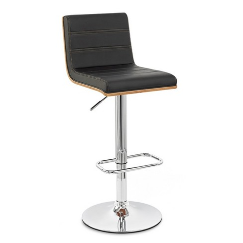 Fabulous Aubrey Barstool Chrome Base Finish With Black Faux Leather And Walnut Back Armen Living Pdpeps Interior Chair Design Pdpepsorg