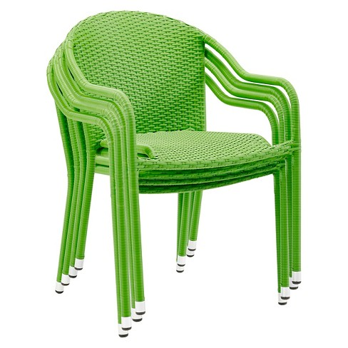 Crosley Palm Harbor Outdoor Wicker Stackable Chairs Set of 4 - Green - image 1 of 4