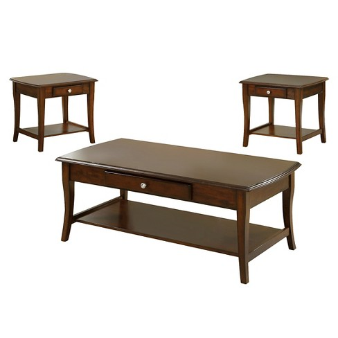 Sun & Pine 3pc Windrell Transitional Accent Table Set Dark Oak - image 1 of 2