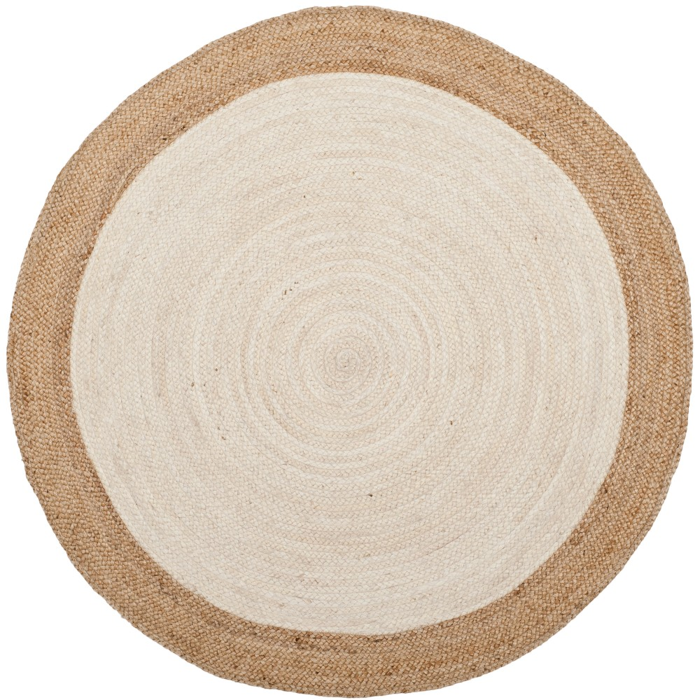 Ivory/Natural Solid Woven Round Accent Rug 4' - Safavieh