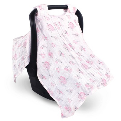 Hudson Baby Infant Girl Muslin Cotton Car Seat and Stroller Canopy, Pastel Floral, One Size