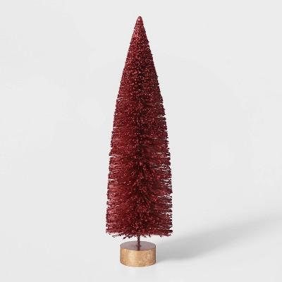 15in Bottle Brush Tree with Gold Base Decorative Figurine - Wondershop™