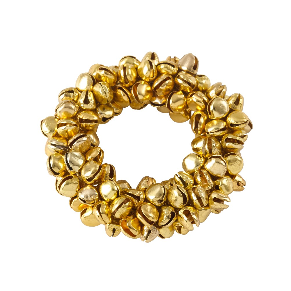 Gold Small Jingle Bell Christmas Napkin Ring Set of 4 - Saro Lifestyle