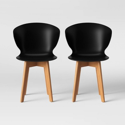 Set of 2 Lever Plastic Dining Chair with Wood Legs Black - Project 62™