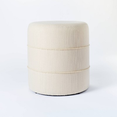 Catalina Mudcloth Round Ottoman Cream - Threshold™ designed with Studio McGee