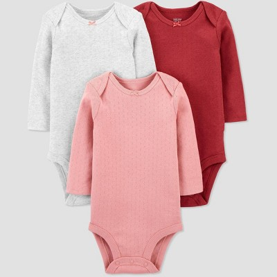 Baby Girls' 3pk Long Sleeve Basic Bodysuit - Just One You® made by carter's Pink 24M