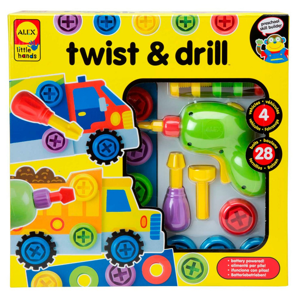 Alex Toys Twist & Drill, Teaching Charts and Props Alex Toys Little Hands Twist and Drill is a real battery-operated reversible drill developed specifically for little hands! Fixing four different vehicles can be hard work, but toddlers are up for the challenge. Designed especially for smaller hands, these pint-size tools allow toddlers to practice hand-eye coordination and fine motor skills with variety of multicolored bolts, wheels, and practice holes. The tool set features a power drill with three interchangeable bits that can also be attached to a screwdriver handle. Requires 2 Aaa batteries, which are not included. The set does include a power drill, 3 interchangeable bits, 1 screwdriver handle, 4 paperboard vehicles, 8 wheels, 28 bolts, practice board, and visual assembly instructions. Recommended for children 3 years of age and older. Gender: Unisex.