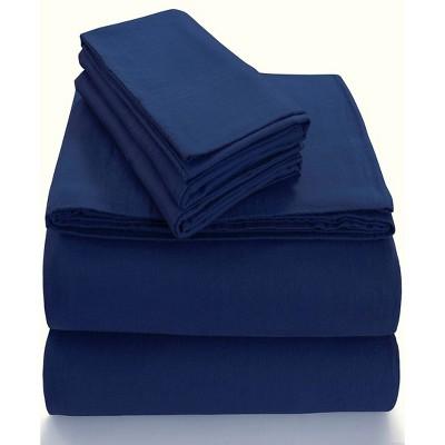Queen Extra Deep Pocket Solid Sheet Set Dark Blue - Tribeca Living