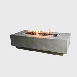 Granville Rectangular Stainless Steel Propane Fire Table - Gray - Elementi