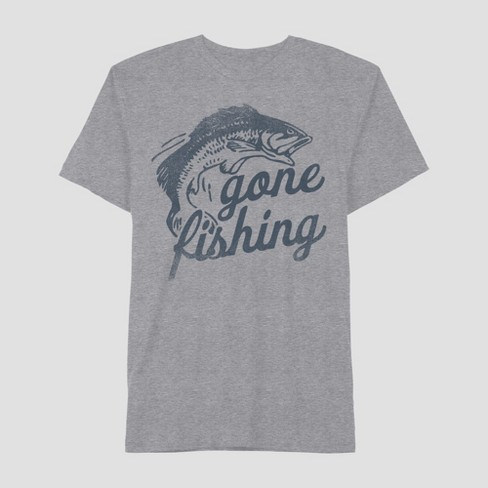 beb58e8c441 Men's Short Sleeve Gone Fishing Graphic T-Shirt - Awake Heather Gray