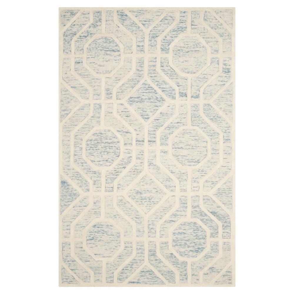 Light Blue/Ivory Geometric Tufted Area Rug - (5'X8') - Safavieh