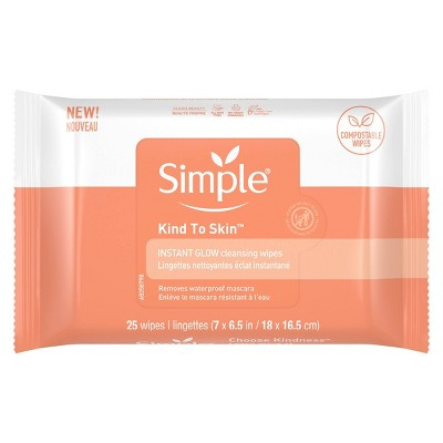 Simple Instant Glow Facial Cleansing and Makeup Removal Wipes - 25ct