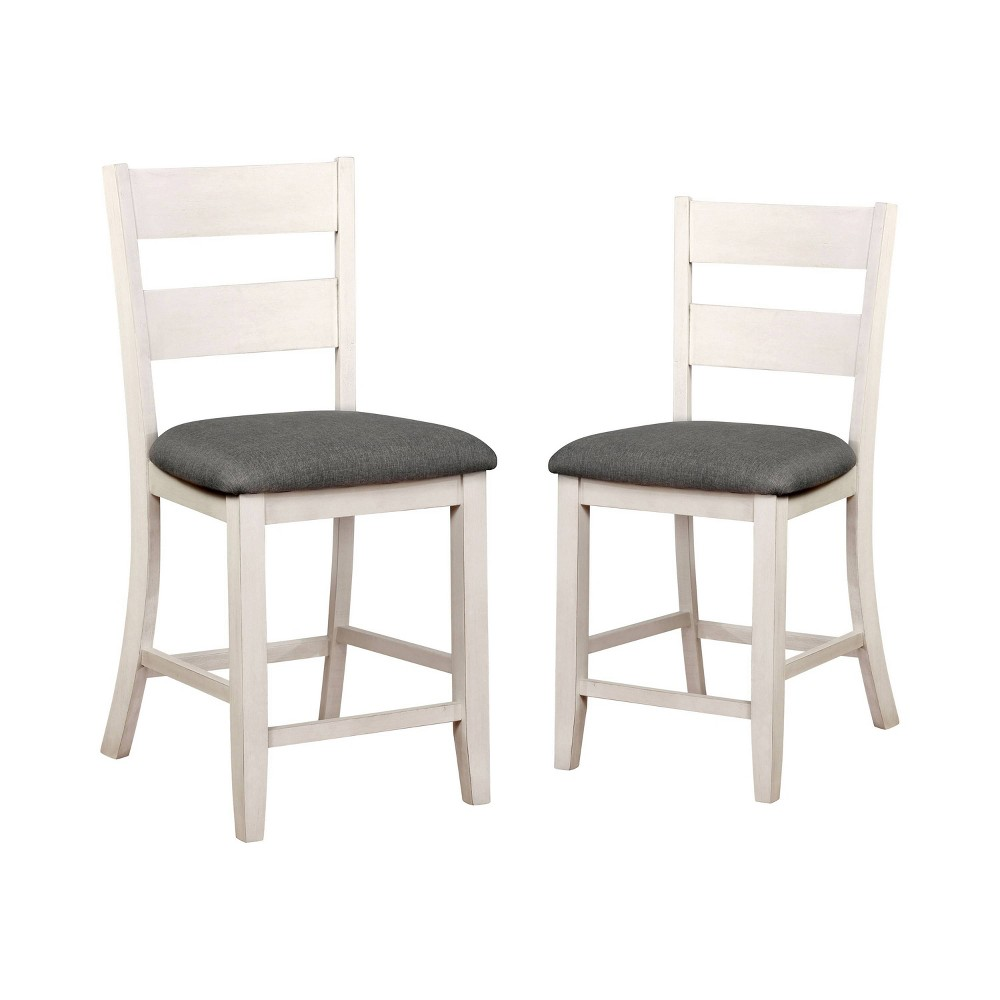 "Image of ""2pc 24.75"""" Acker Slat Back Counter Height Chairs Antique White/Gray - ioHOMES, White Gray"""