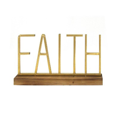 "18"" x 9.25"" Metal and Wood Faith Table Top Gold/Natural - Stratton Home Décor"
