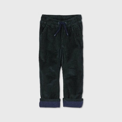 Toddler Boys' Fully Lined Corduroy Pull-On Pants - Cat & Jack™ Dark Green