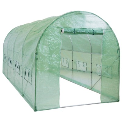 Best Choice Products 15x7x7ft Walk-In Greenhouse Tunnel Tent Gardening Accessory w/ Roll-Up Windows, Zippered Door