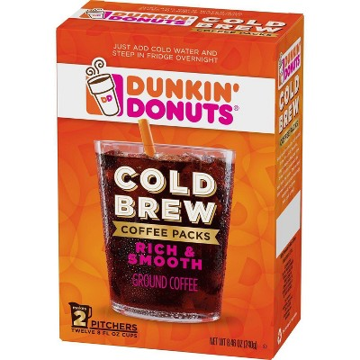 Dunkin' Cold Brew Coffee Packs, Smooth & Rich Ground Coffee - 8.46oz