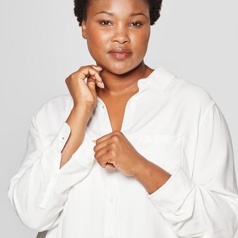 ddb5a167398dd7 Women s Plus Size No Gap Button-Down Long Sleeve Tunic - Ava   Viv™ White
