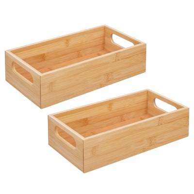 mDesign Bamboo Storage Bin for Home Office Desk - 2 Pack - Natural