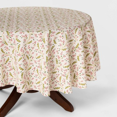 """70"""" Holly Berry Round Tablecloth Red - Threshold™"""