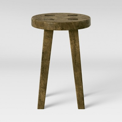 Woodland Short Carved Wood Table Brown   Threshold™