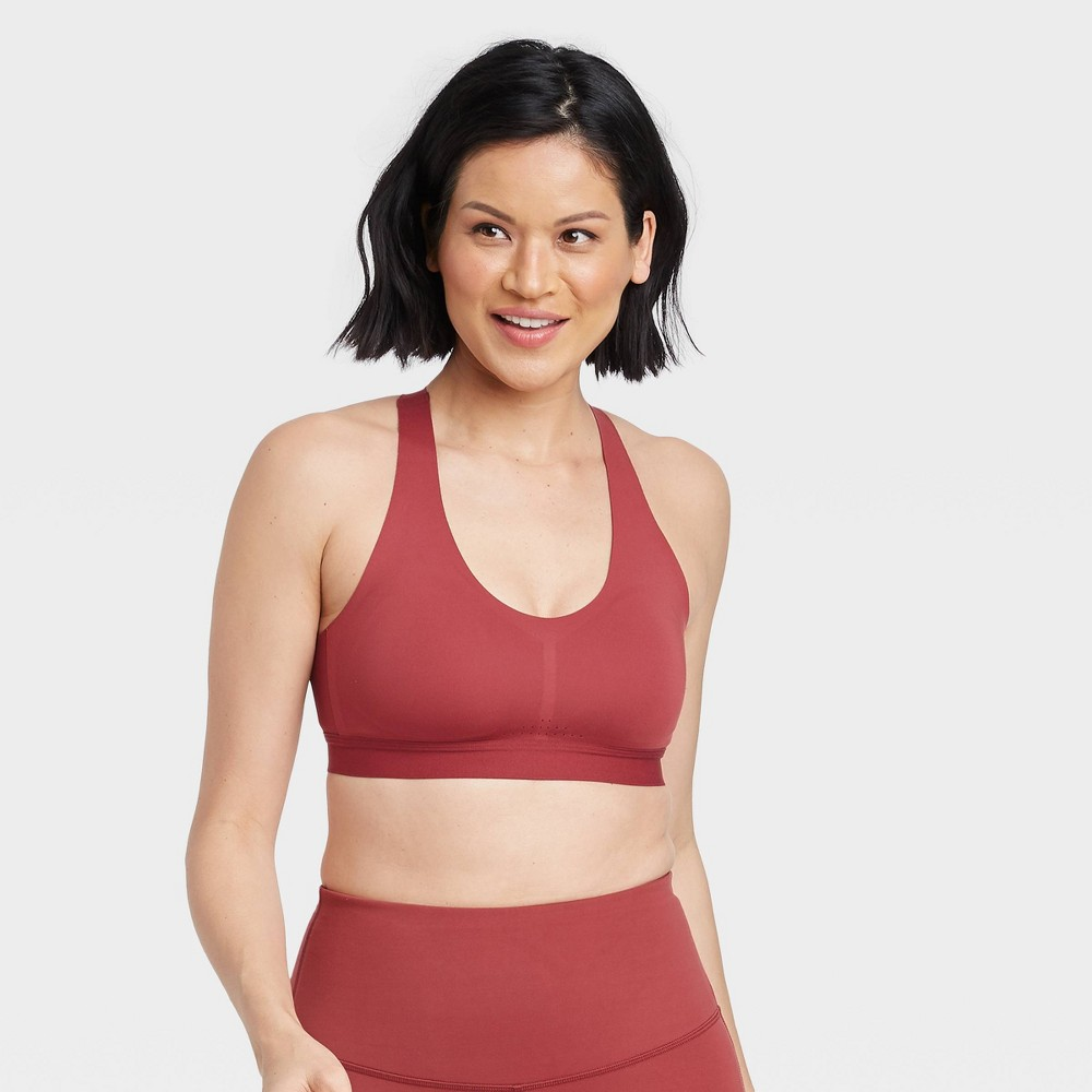 Women 39 S Medium Support Bonded Racerback Bra All In Motion 8482 Cranberry Zing M