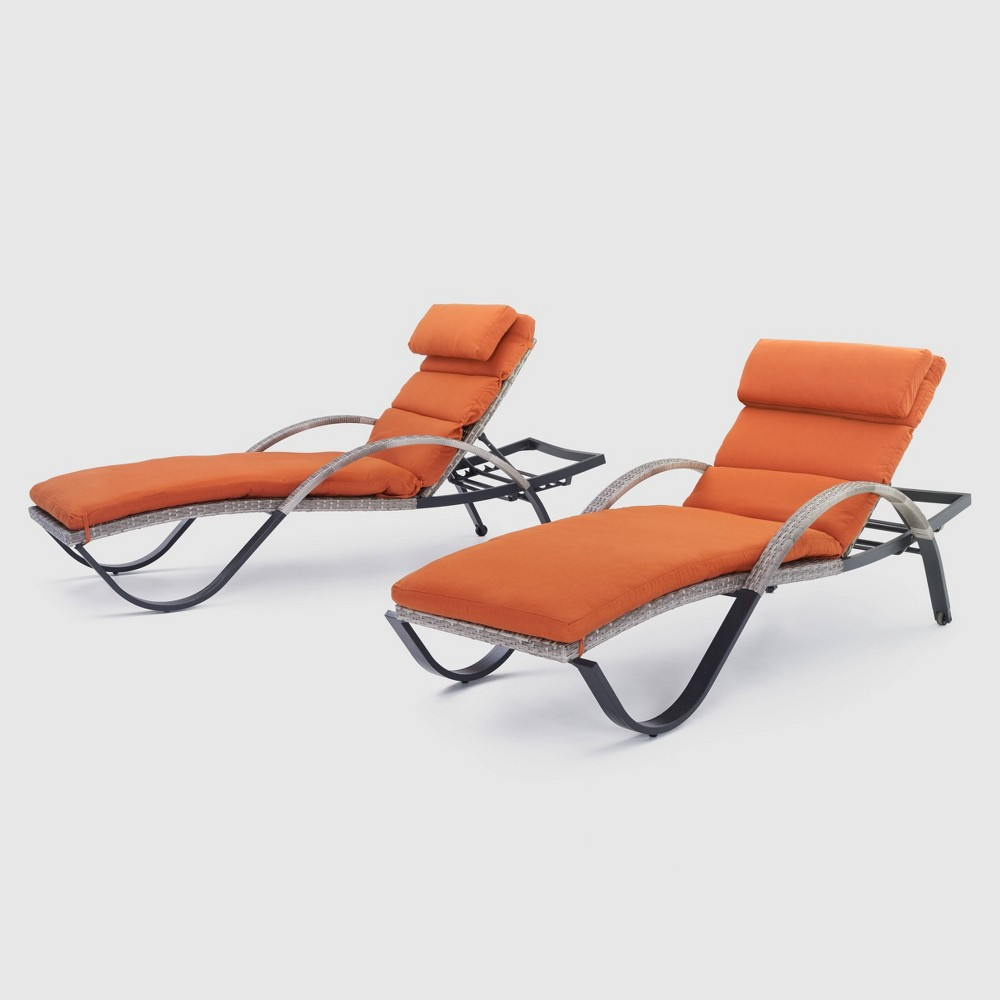 Cannes 2pk Chaise Lounges with Cushions - Orange - Rst Brands