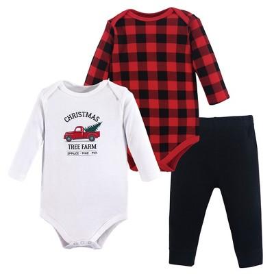 Hudson Baby Infant Unisex Cotton Bodysuit and Pant Set, Christmas Tree