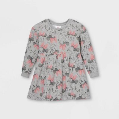 Toddler Girls' Minnie Mouse Long Sleeve Fleece Dress - Gray