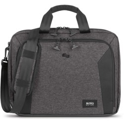 """Solo Voyage Carrying Case (Briefcase) for 15.6"""" Notebook - Gray, Black - Damage Resistant, Scuff Resistant, Scratch Resistant - Checkpoint Friendly"""