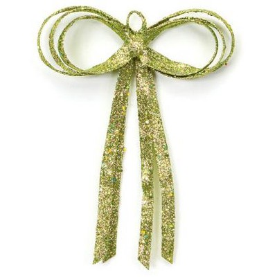 "Melrose 12"" Green Glitter Drenched Bow Christmas Wall Decor"