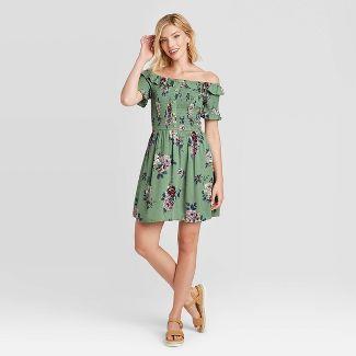 Women's Floral Print Short Sleeve Smocked Top Dress - Xhilaration™ Green XL