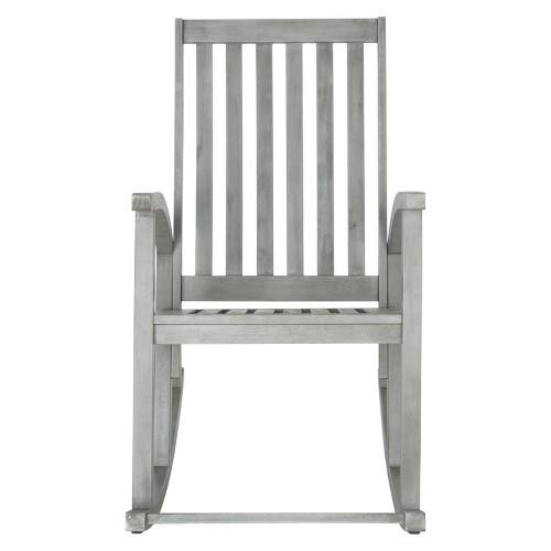 Lugano Wood Patio Rocking Chair Gray Safavieh