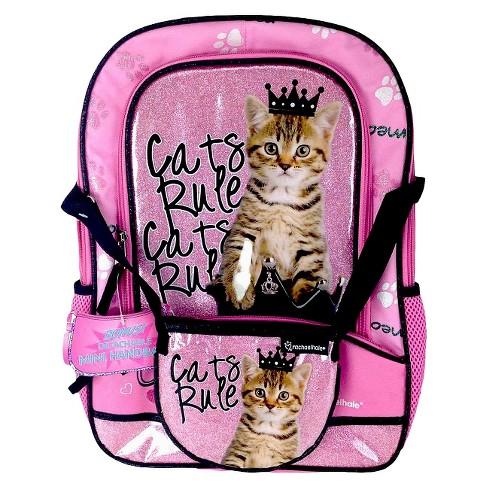 "Disney 16"" Rachael Hale Cats Rule Kids' Backpack with Crossbody Mini Bag - Pink - image 1 of 3"
