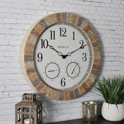 Sandstone Outdoor Wall Clock - FirsTime