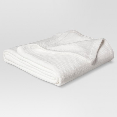 Full/Queen 100% Solid Cotton Bed Blanket White - Threshold™