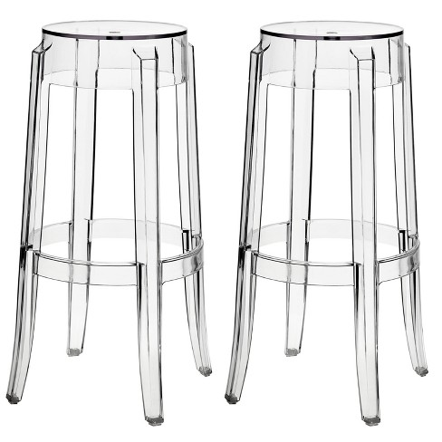 Set of 2 Casper Bar Stool Clear - Modway - image 1 of 4