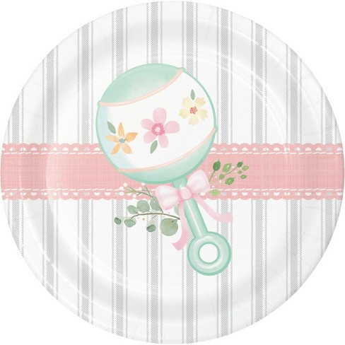 24ct Country Floral Baby Shower Dessert Plates - image 1 of 3