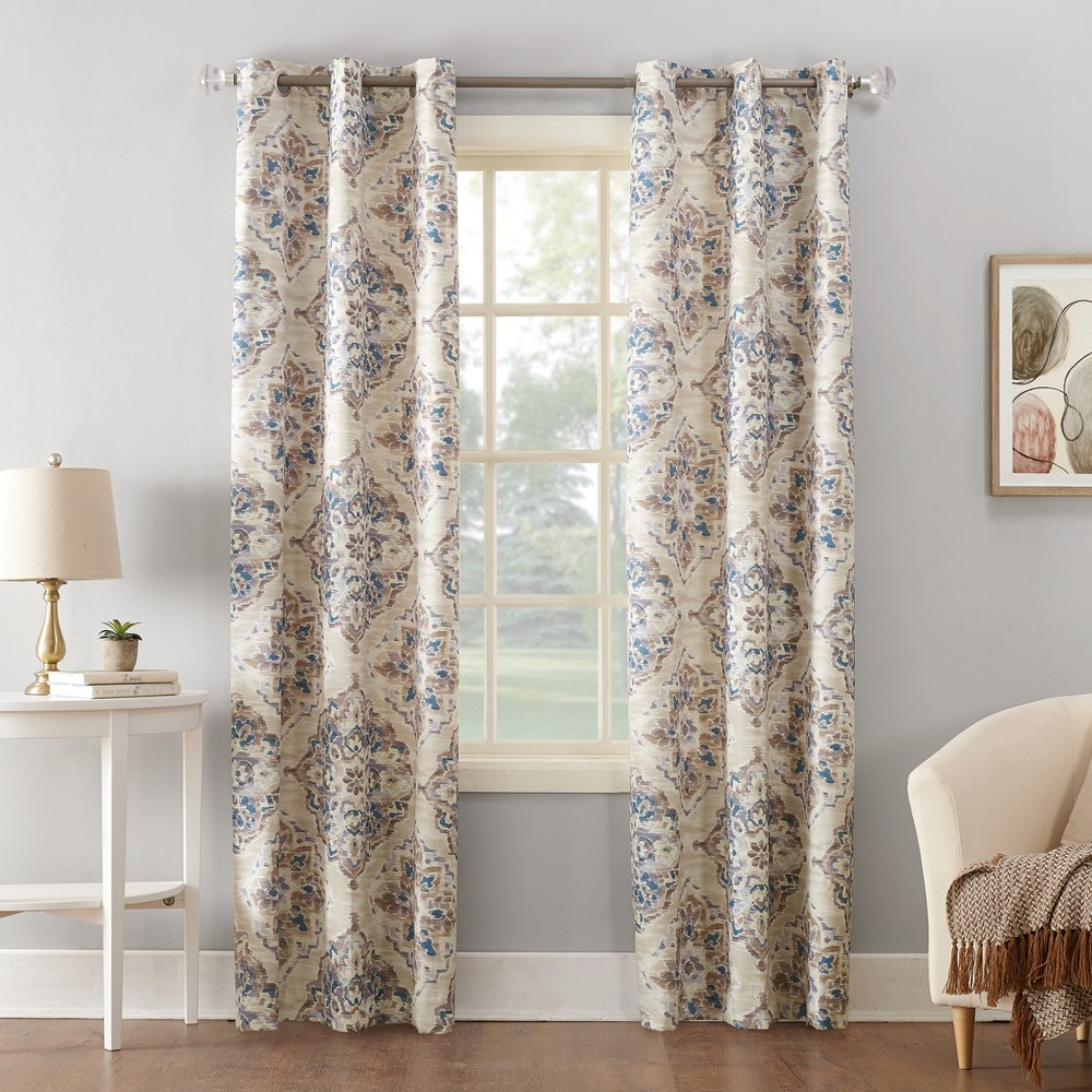 Regina Watercolor Floral Thermal Insulated Grommet Curtain Panel Linen 40