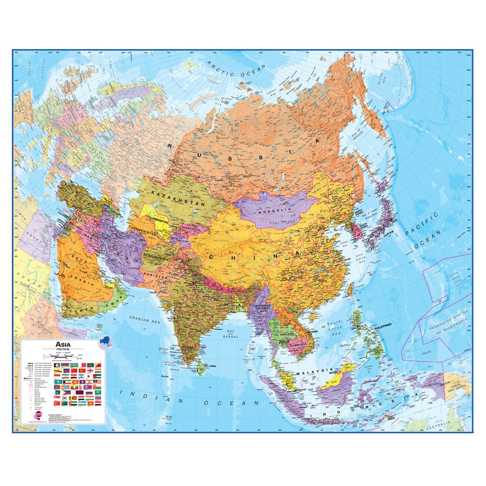 Image of Maps International Asia 1:11 Wall Map, Aquarium Blue