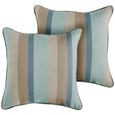 Sunbrella 2pk Gateway Mist Outdoor Throw Pillows Blue/Brown