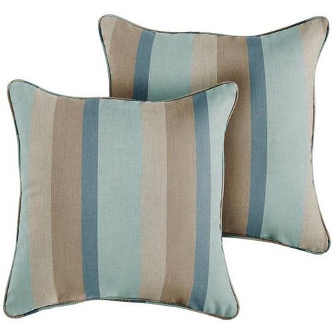 Sunbrella 2pk Gateway Mist Outdoor Throw Pillows Blue/Brown : Target
