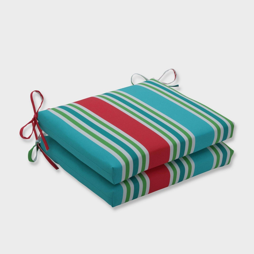 2pk Aruba Stripe Squared Corners Outdoor Seat Cushions Blue - Pillow Perfect