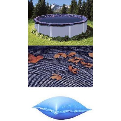 Swimline 18' Round Above Ground Pool Leaf Net + Closing Air Pillow + Pool Cover